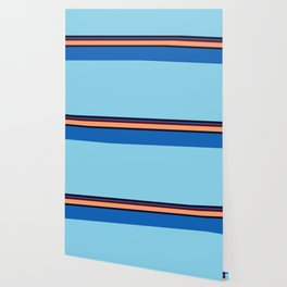 Retro 70s Blue Center Wave Wallpaper