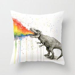 T-Rex Dinosaur Vomits Rainbow Throw Pillow