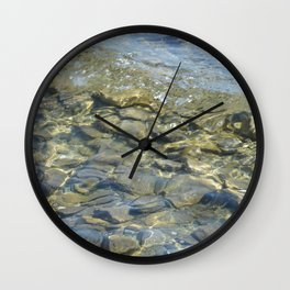 River Rocks - Serene Cool Flowing Water over Beach Stones Wall Clock
