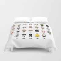movies Duvet Covers featuring Horror Movies Alphabet by PixelPower