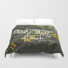 Psalm 46 1 Encouraging Scripture Black Eyed Susan Wildflower Photograph Duvet Cover