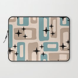 Retro Mid Century Modern Abstract Pattern 227 Blue and Beige Laptop Sleeve