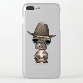 Cute Baby Platypus Sheriff Clear iPhone Case
