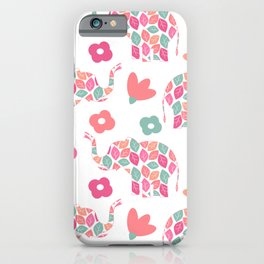 cute colorful abstract pattern background with leaves elephants and flowers iPhone Case