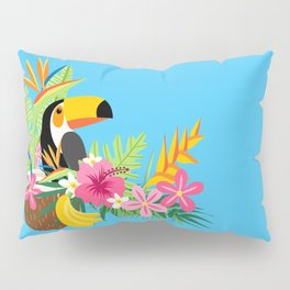 Tropical Toucan Island Coconut Flowers Fruit Blue Background Pillow Sham