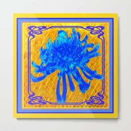 ABSTRACT BABY BLUE SPIDER MUM ON GOLD PATTERN FLOWERS Metal Print