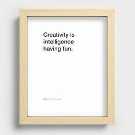 Einstein quote about creativity [White Edition] Recessed Framed Print