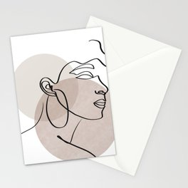One line drawing - Woman  Stationery Cards