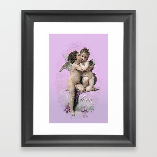 First Kiss Pink Framed Art Print