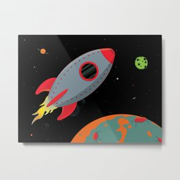 Cute Gray Rocket Ship Metal Print