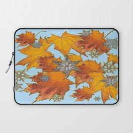 Decorative Blue Winters Snowflakes old Autumn Leaves Art Laptop Sleeve