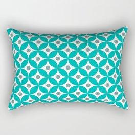Turquoise, gray and white elegant tile ornament pattern Rectangular Pillow