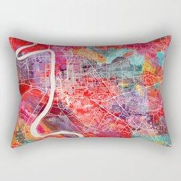 Baton Rouge map Louisiana painting square 2 Rectangular Pillow