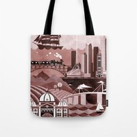 travel poster Tote Bags featuring Melbourne Travel Poster Illustration by ClaireIllustrations