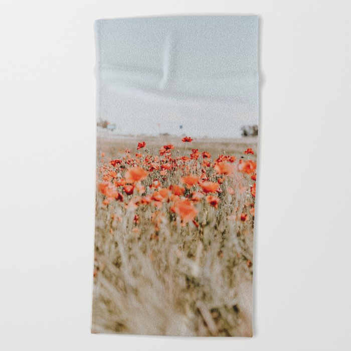 flower field Beach Towel