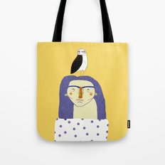 Women and Owl, owl art, people, illustration, fashion, style, Tote Bag