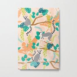 Lemurs in a Peach Jungle Metal Print