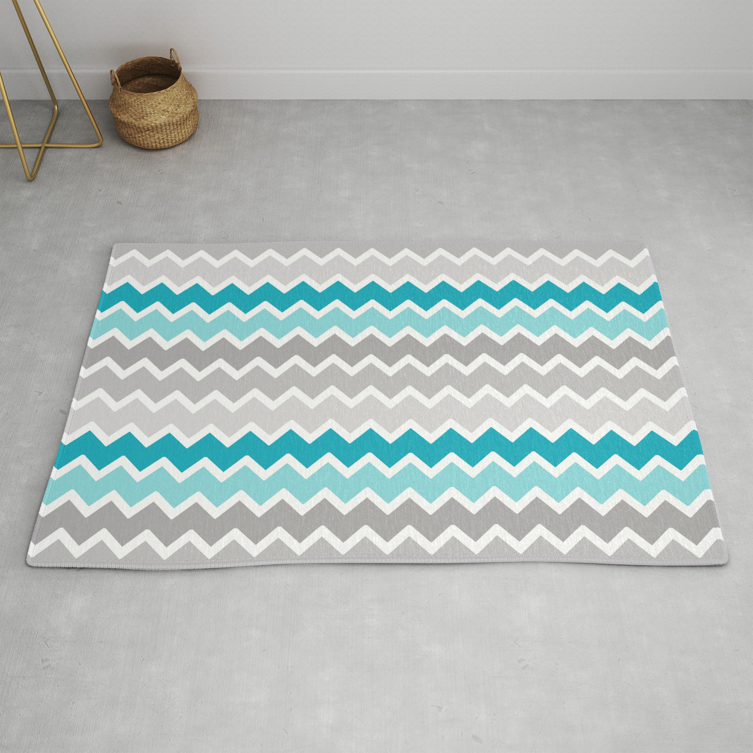 Turquoise Teal Blue Gray Chevron Rug By Decampstudios Society6
