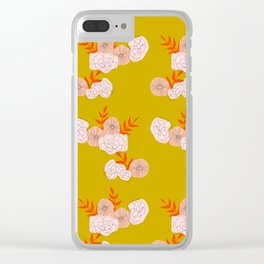 Vintage Ochre Florals Clear iPhone Case