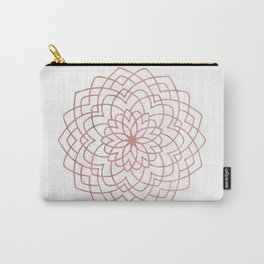Mandala Blossom Rose Gold on White Carry-All Pouch