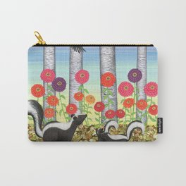 striped skunks, zinnias, birches, & crows Carry-All Pouch