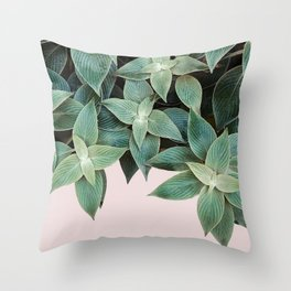 #leaf #wall #pink Throw Pillow