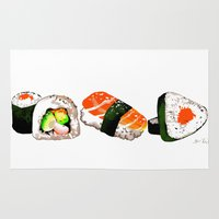 sushi Area & Throw Rugs featuring SUSHI by Sandpaperdaisy