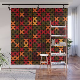 An abstract geometric pattern . Rustic . Wall Mural