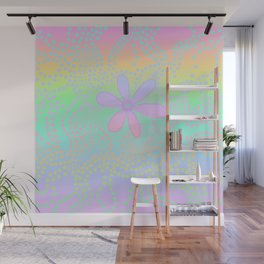 Pastel Rainbow Flower and Dots Wall Mural