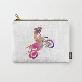 Girl Motocross Colorful Purple Watercolor Motorcycle Art Carry-All Pouch