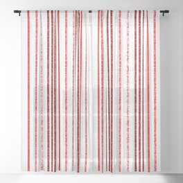 Thin Red Speckled Lines Sheer Curtain