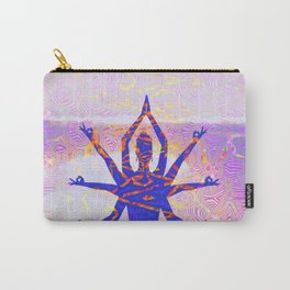 Kali Goddess Sunset Landscape with Tribal Glitch Pattern Carry-All Pouch