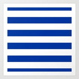 Dark Princess Blue and White Wide Horizontal Cabana Tent Stripe Art Print