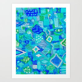 Boho Patchwork in Cool Tones Art Print