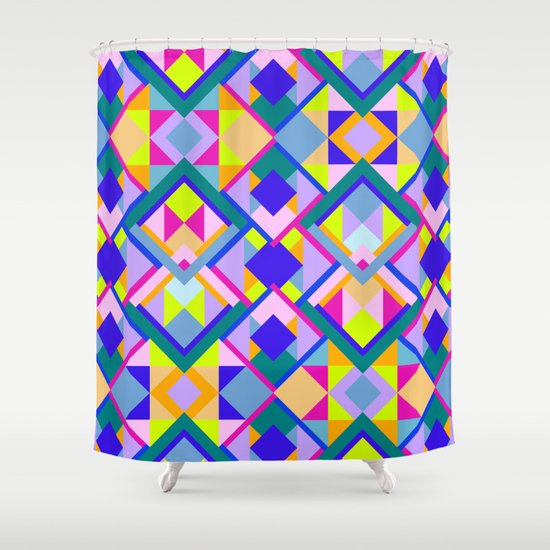 Colourful Geometric Patterns Shower Curtain By Thea