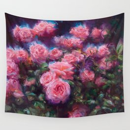 Out of Dust, impressionist pink roses Wall Tapestry