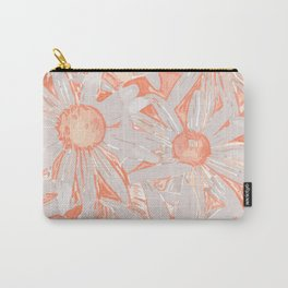 Daisy Floral Pattern, Citrus Coral Carry-All Pouch