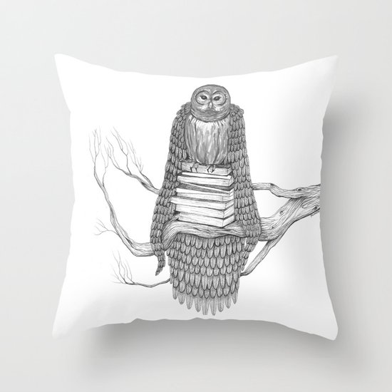 The Owl- Feathered Throw Pillow