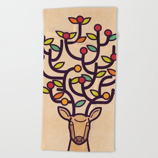 One Happy Deer Beach Towel