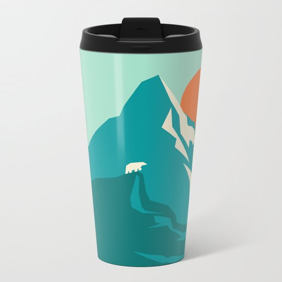 As the sun rises over the peak Metal Travel Mug