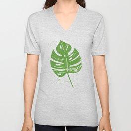 Linocut Leaf Unisex V-Neck