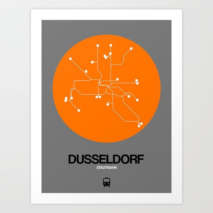 Dusseldorf Subway Map From Airport.Dusseldorf Orange Subway Map Art Print By Naxart