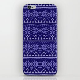 Knitted Christmas pattern in blue iPhone Skin