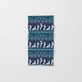 Fair Isle Knitting Doxie Love // navy blue background white and teal dachshunds dogs bones paws and hearts Hand & Bath Towel