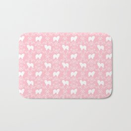 Chow Chow dog floral silhouette dog breed chow chows pet gifts Bath Mat
