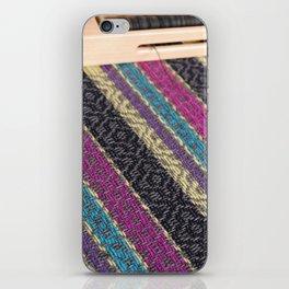 Striped point twill grey iPhone Skin
