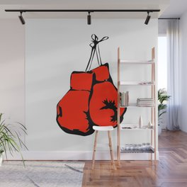 Hanging Boxing Gloves Wall Mural