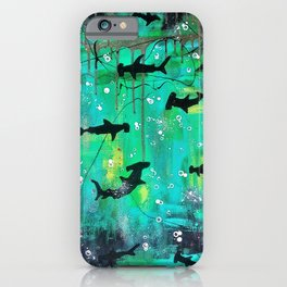 Teal hammerheads iPhone Case