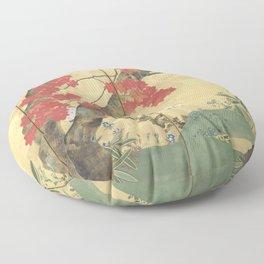 Maple Tree Japanese Edo Period Six-Panel Gold Leaf Screen Floor Pillow