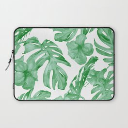 Tropical Island Leaves Green on White Laptop Sleeve